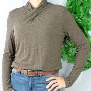 Tribal Mock/Turtleneck Brown Long Sleeve Tunic Top